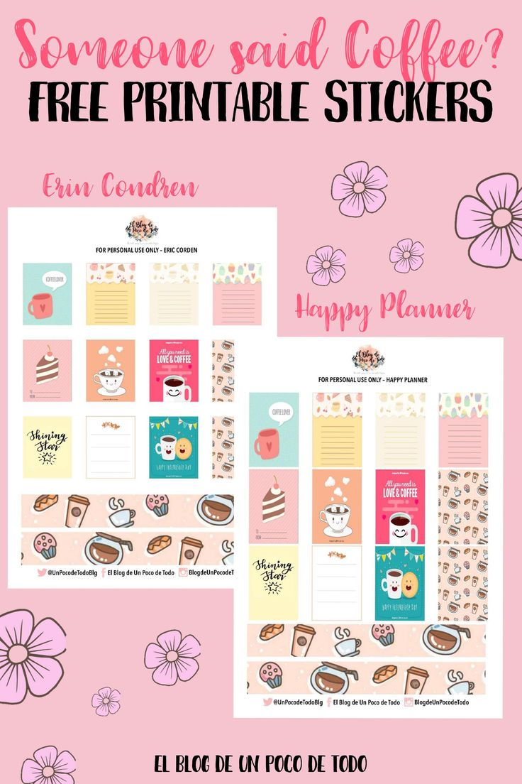 There's a new post on the blog! Download these free printable stickers and enjoy organizing your planners & binders! #Pinterest #PinofTheDay #Pin #Stickers #Printables #Freebie #FreePrintables #Coffee