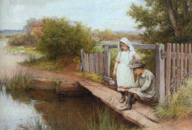 Fishing from a Bridge ~ Charles Edward Wilson ~ (English: 1854-1941)