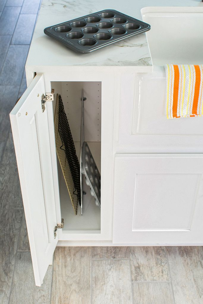 Tray Divider in Thomasville Cabinet - Storage Solutions for Your Kitchen Makeover - Home Depot Blog