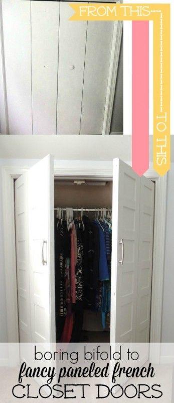 Update bifold doors to paneled french doors | Wife in Progress on Remodelaholic.com #doors #closet