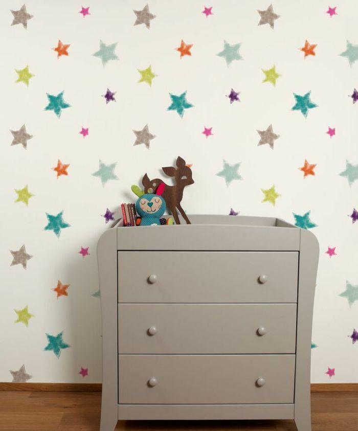 New tapete kinderzimmer sterne kommode kinderzimmer dekorieren