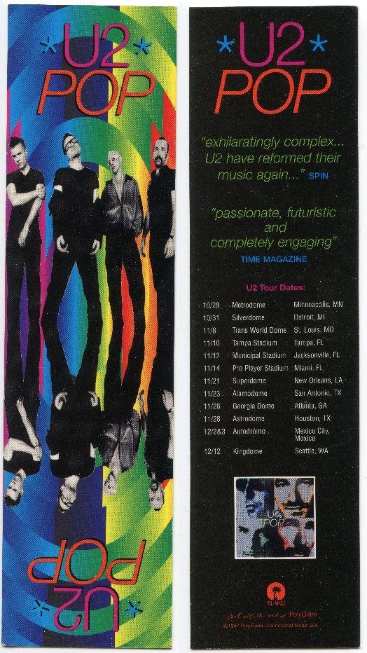 """U2 - promo bookmark for the album """"Pop"""" in 1997"""