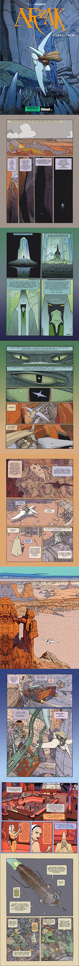 Arzach is a comic book collection of four wordless short stories by artist/author Jean 'Moebius' Giraud, which were originally published in the French sci-fi/fantasy comics magazine Métal Hurlant. The 2010 book Arzak: L'Arpenteur (Arzak: The Surveyor) was the first of a planned trilogy to explore the origin of the character. However, with the death of Jean Giraud in March 2012, this vision was never realised.