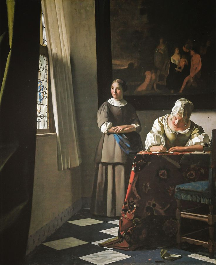 """Vermeer: """"A Lady Writing a Letter with Her Maid"""" (1670) at National Gallery of Ireland, Dublin."""