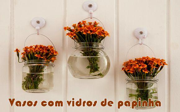 Como fazer vasos de flores com vidro de papinha #artesanato #flores #dicas #diy