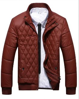 Men's Quilted Zipper Jacket with Ribbed Collar