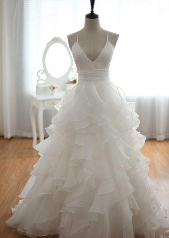 High Quality Beach Wedding Dress,A-line Wedding Dress,Cheap Wedding Dress,Spaghetti Straps Wedding Dress,Backless Weddin…