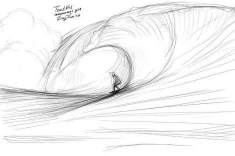 Как нарисовать волны карандашом поэтапно 4