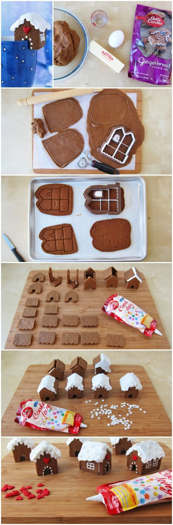Mini Gingerbread Houses!  Love the all in one cookie cutter!: