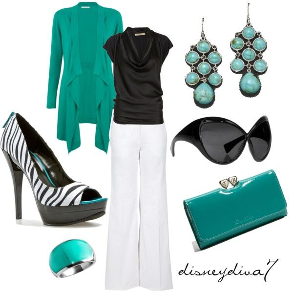 Casual Outfit: Shoes, Colors Combos, Fashion, Style, Clothing, White Pants, Turquoi, Work Outfits, Zebras