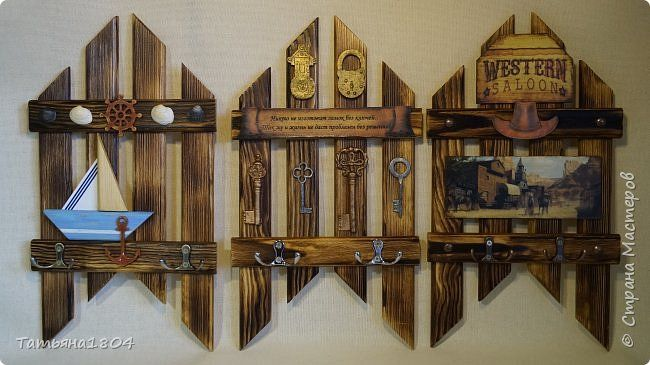 Три ключницы. Изготовлены из деревянных реек с обжигом и брашировкой. .  фото 1