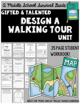 """Gifted and Talented Unit - Design A Walking Tour: A """"print and go"""" project based learning unit for the middle grades! Students work to research and design a walking tour for a location of their choice! They will create a website and/or a brochure as well as design a social media marketing plan and an app."""