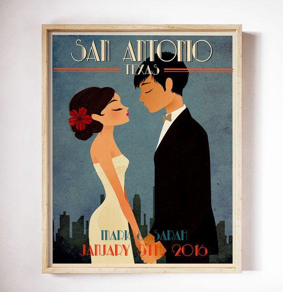 Unique Wedding Gift Vintage Wedding Poster Retro by CherimoyaArt