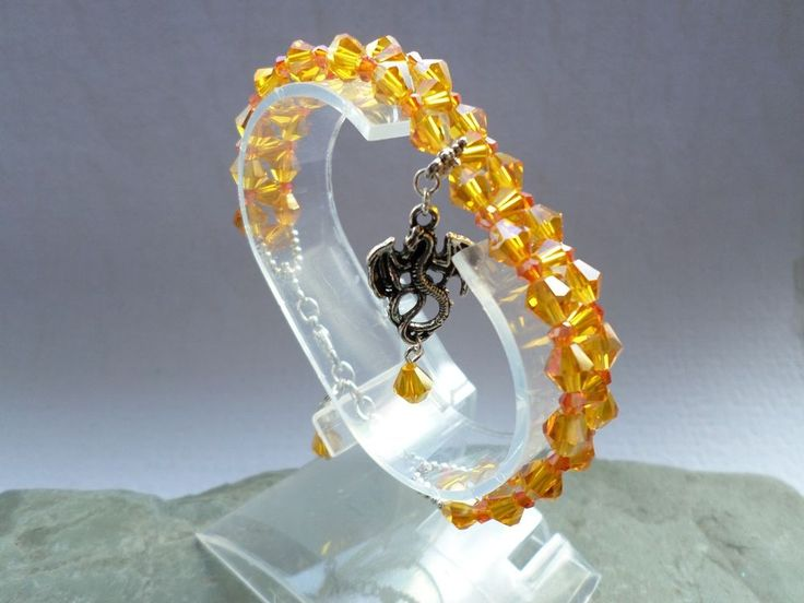 SUNSHINE ENERGY FIRE DRAGON Crystal Beaded Bracelet Smaug LOTR Game Of Thrones