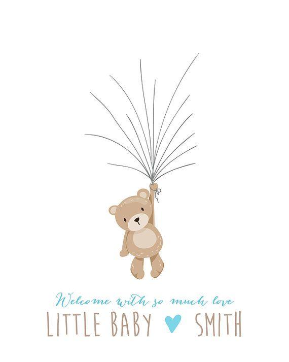 Ours en peluche bébé douche le livre dor par Anietillustration