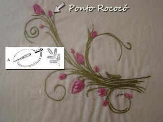 Cia das Agulhas: Mais Pontos do Bordado da Vovó: Bordado Eu Faria, Embroidery Embroidery, Embroidery, Bordado Especi, Bordado Rococo, Embroidered Flora, Free Embroidery, Bordado La