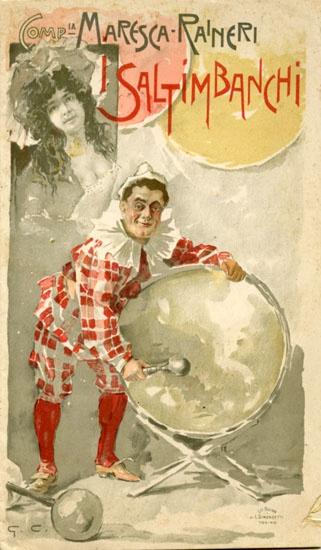 Programma dell'operetta I Saltimbanchi di Maurice Ordonneau. Compagnia Maresca - Raineri, Teatro Balbo, Torino 2 ottobre 1900.