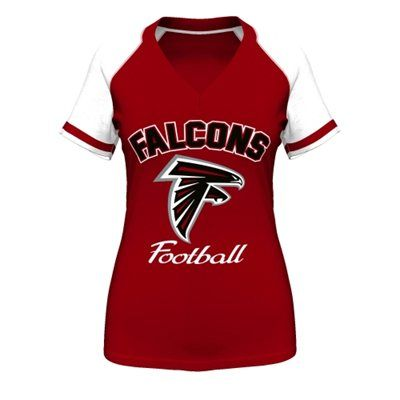 majestic atlanta falcons womens red go for two iv v neck t shirt