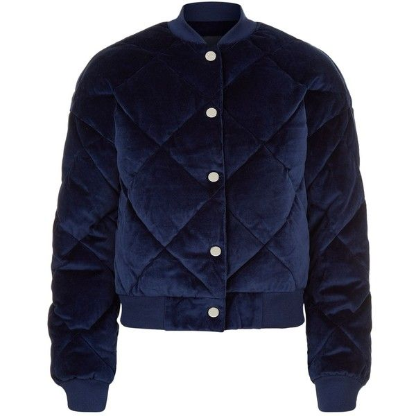 Maje Velvet Bomber Jacket ($460) ❤ liked on Polyvore featuring outerwear, jackets, snap jacket, blue velvet jacket, velvet jacket, quilted flight jacket and flight jackets