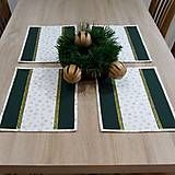 Úžitkový textil - Zlaté vločky na bielej so zelenou - prestieranie 25x35 - 7100935_
