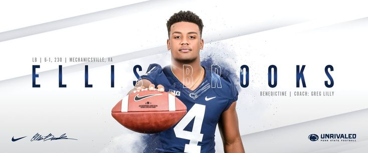 """Penn State Football on Twitter: """"The pride grows stronger with the addition of @EllisBrooks35 to the roster! #PSUsigningday ⚪️☝️ #WeAre… """""""