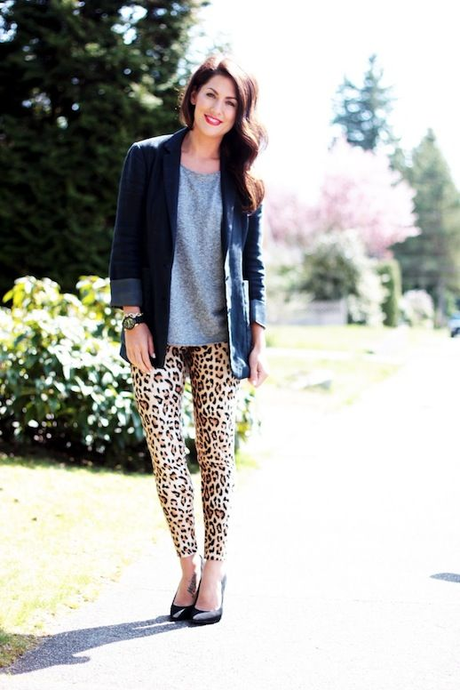 Jillian Harris LOVE IT OR LIST IT outfit - leopard leggings, boyfriend blazer & heels