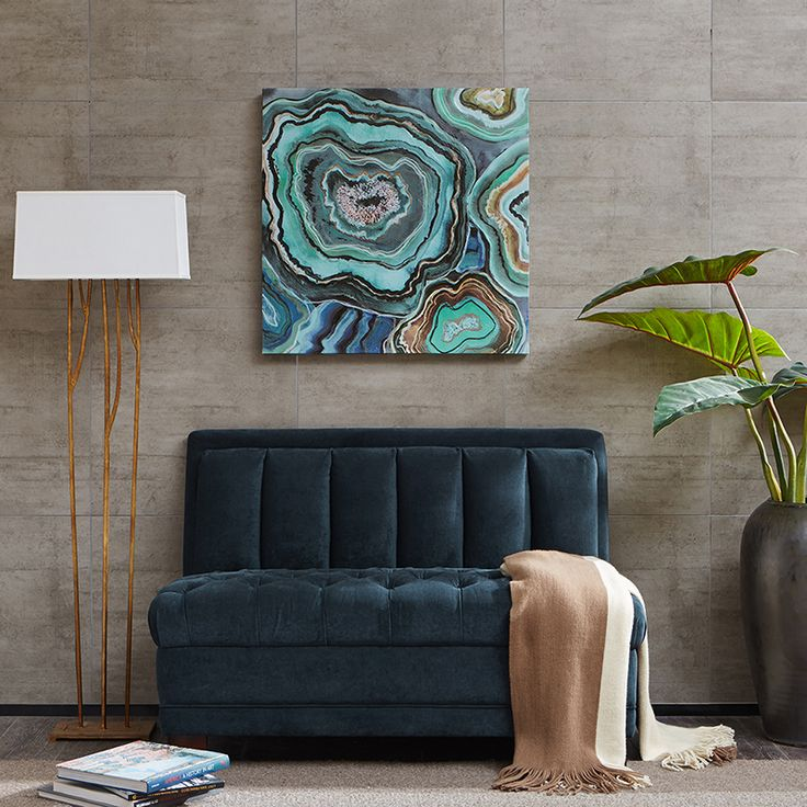 Mix your agate art with velvet furniture for an eclectic and very fashionable look. It's a wonderful combination because of the depth and richness of both velvet and agate. Choose a white frame, or no frame at all, to make the print speak for itself.