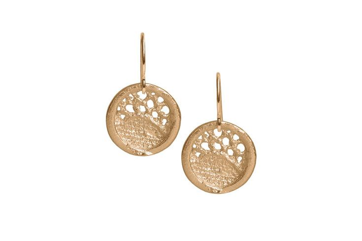 Gold Lace Round Medium Drop Earrings - product images  of
