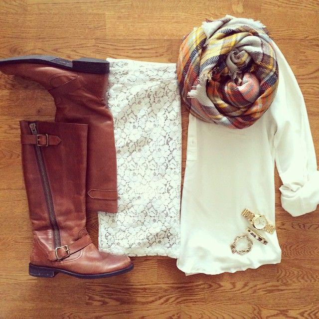 Winter White, Lace Skirt, Boots, Blanket Scarf | #workwear #officestyle #liketkit | http://www.liketk.it/QBvi | IG: @whitecoatwardrobe