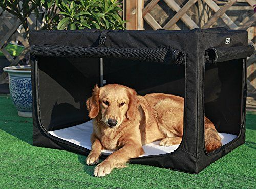 I just used this last weekend Petsfit 36 X 24 X 23 Inches Travel Pet Home Indoor/Outdoor Steel Frame Home,Collapsible Soft Dog Crate(Black) follow this link click here http://bridgerguide.com/petsfit-36-x-24-x-23-inches-travel-pet-home-indooroutdoor-steel-frame-homecollapsible-soft-dog-crateblack/ for much more detail about it. Thanks and please repin if you like it. :)