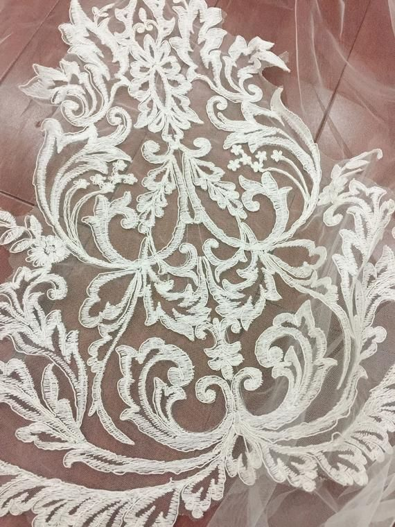 French Cotton Alencon Lace Applique Piece for Bodice Lace Top Overlay Couture Gown Accessories Ballet Wedding