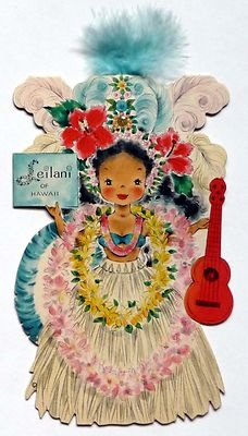 Vintage 1949 Hallmark Dolls of the Nations Card No. 28 Leilani of Hawaii Unused