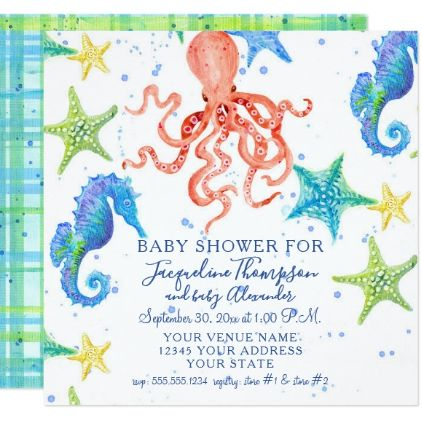 Boy Baby Shower Beach Starfish Octopus Seahorse Card - patterns pattern special unique design gift idea diy