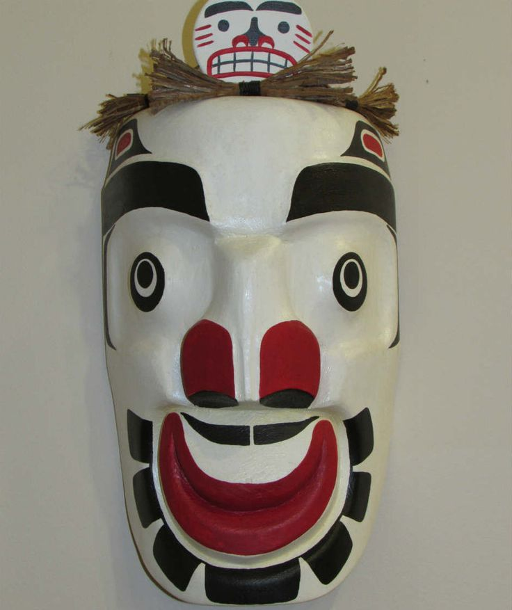 This #mask was hand carved by Randy Frank from the #Comox Valley on #VancouverIsland.   This mask is used in our traditional Potlatch ceremonies. In the dance there are two masks that come out; the Full Moon Mask and the Half Moon Mask. This dance is more of a fun interactive dance that breaks up the more serious parts of a potlatch. Carved out of red cedar with cedar bark on top.   #AboriginalBC #FirstNations http://ihosgallery.com/collections/masks-carvings/products/full-moon-mask