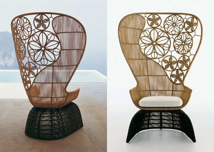 Designer Patricia Urquiola has reinvented the peacock wicker chair and taken it to another level.