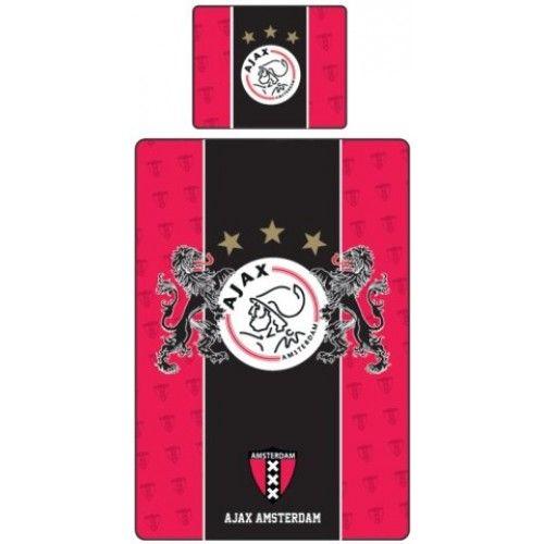 Dekbedovertrek Ajax rood/zwart leeuwen voor in de echte Ajax fan slaapkamer! Het dekbedovertrek is van 100% katoen.  Afmetingen 140x200 cm. Kussensloop 60x70 cm.