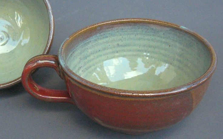 pottery soup bowls with handles | Handled Soup Bowl Iron Red Green Handmade Pottery by TheMudPlace