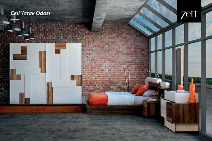 Asimetrik şifonyeri, minimal yatak başlığı ve dikkat çeken kapak tasarımı ile Cell Yatak Odası... www.zettdekor.com #Zett #Zettdekor #Mobilya #Dekorasyon #Aksesuar