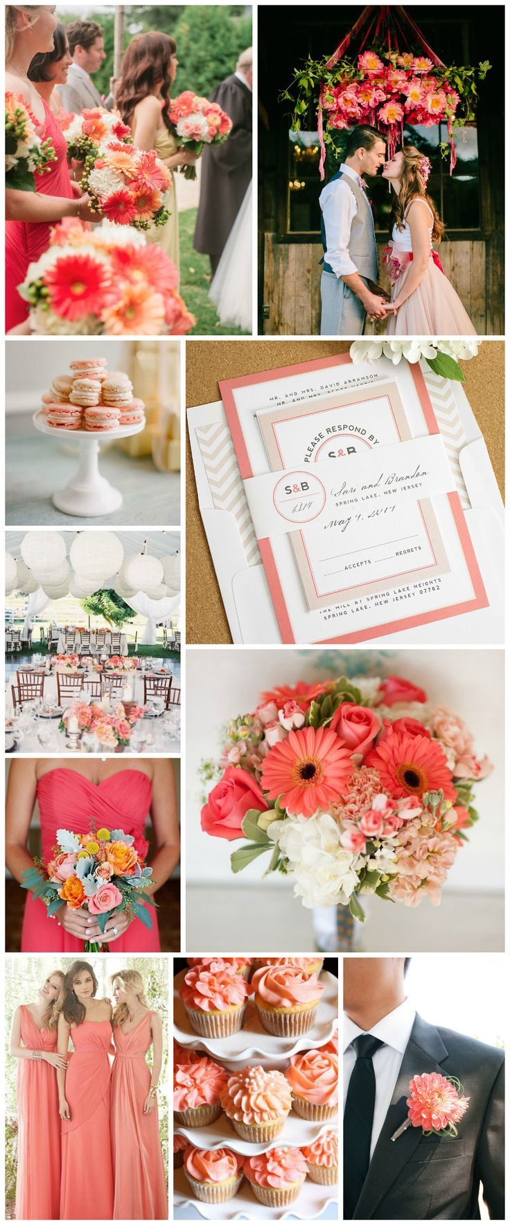 Wedding Inspiration in Coral, Blush, and Peach - Modern Circle Logo Wedding Invitations - Coral Bridesmaids Dresses, Peach Bouquet, Cupcakes, Circle Monogram, Pink Wedding Dress, Paper Lanterns