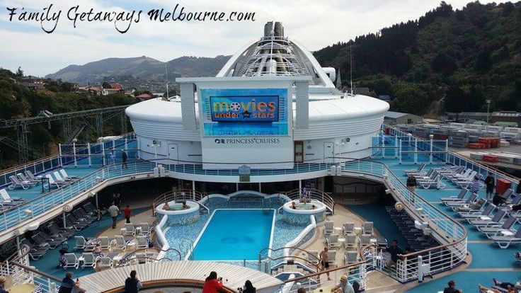 The big screen 'Movies under the Stars' on the Golden Princess cruise liner