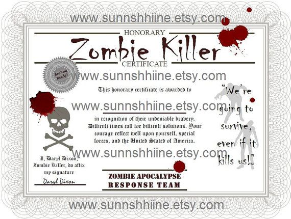 134 best zombie birthday images on pinterest zombie birthday zombie killer certificate the walking dead zombies halloween party favor gag yadclub Gallery