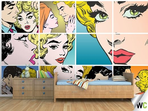 Comic book themed wall mural - imagery on the Wallcreations website.