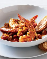 Marseille Style Shrimp stew. Atkins diet friendly if you skip the bread on the side. Try the roulle or aiole on sliced raw radishes or cucumbers instead.