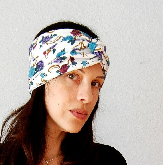 Beautiful recycled fabric head wrap.: Blue Grays, Floral Prints, Head Wraps, Bohemian Fashion, Beautiful Recycled, Fabric Upcycle