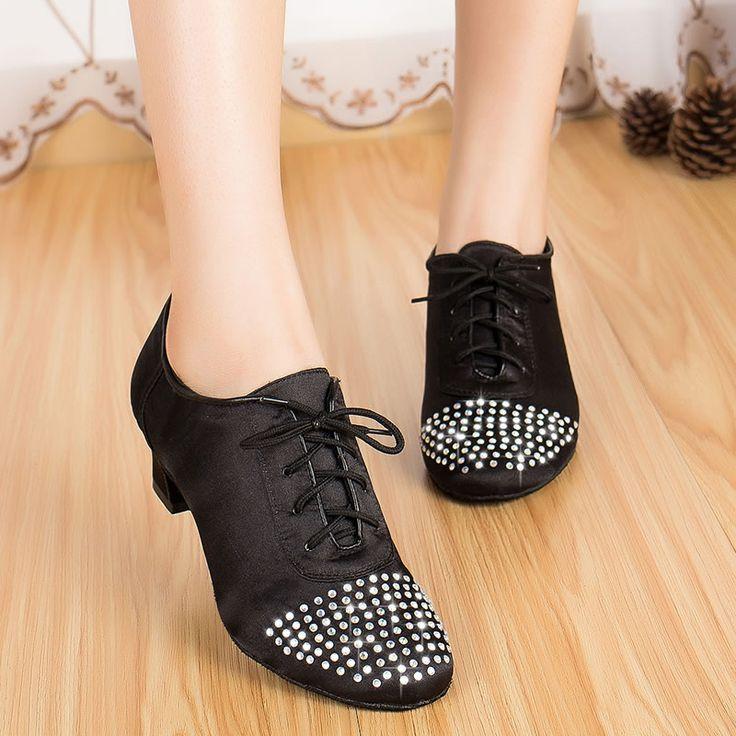 Латинский танец обувь алмаз взрослых женщин танцевальная обувь танцевальная обувь квадратных черная мягкая подошва Латинской плоская обувь XC-6382
