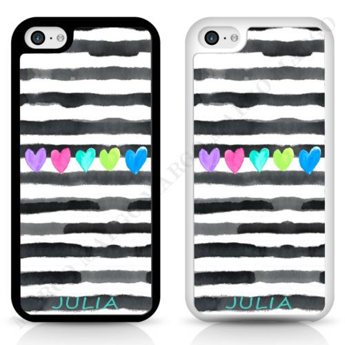 STRIPES PAINTED HEART PERSONALISED CUSTOM PHONE CASE COVER FOR IPHONE SAMSUNG