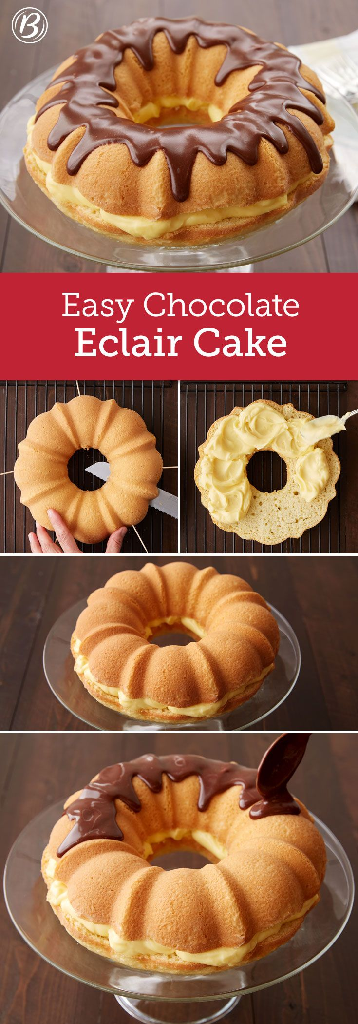 Inspired by the custard-filled, doughnut-shop classic, this impressive Bundt cake is prepped in a flash, thanks to Betty's Krispy Kreme cake mix. You can bake the cake a day ahead; just hold off on adding filling until just before serving.