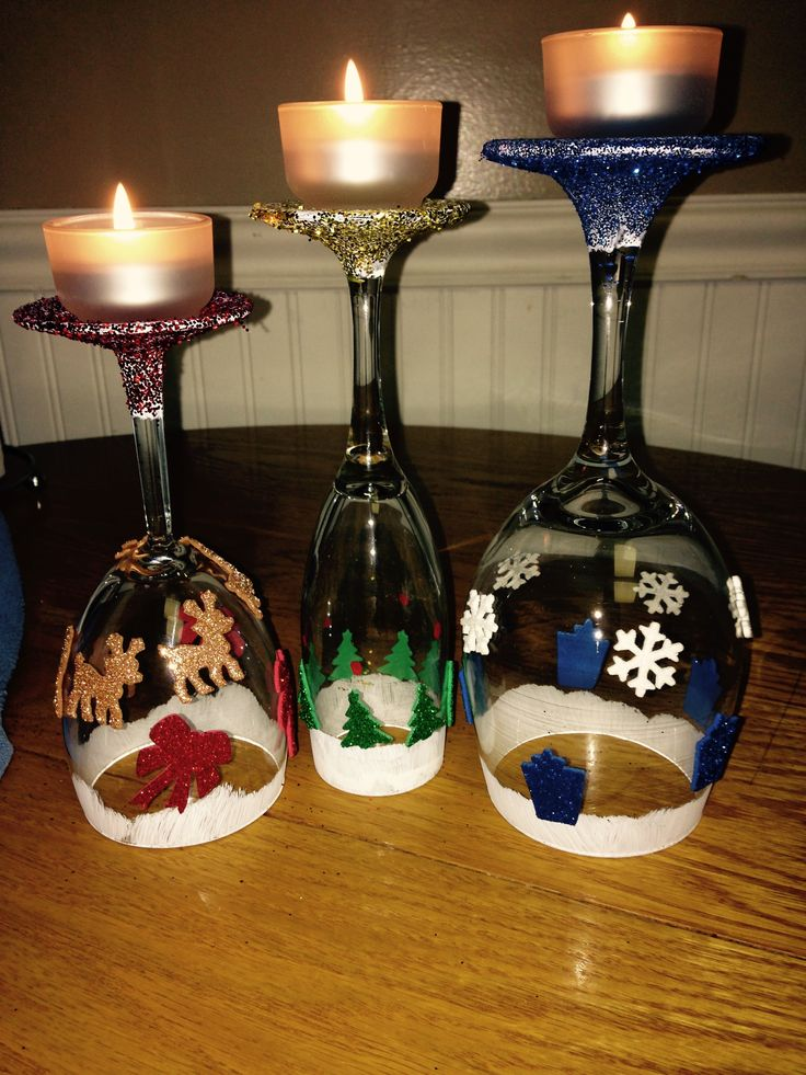 17 best images about wine glass candle holders on for How to make christmas candle holders