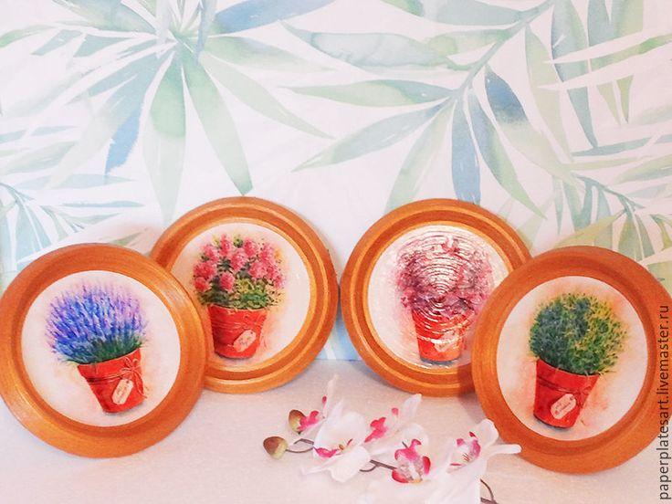 Купить Прованские травы, набор из 4-х панно - комбинированный, тарелки ручной работы