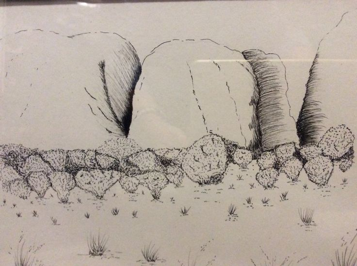 Pen and ink Boulders by Heather Anderson
